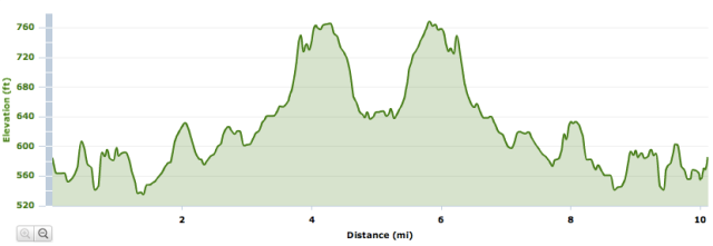 Elevation map for Adams Heart Run 10mi